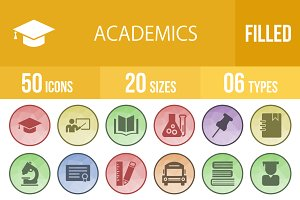 50 Academics Filled Low Poly Icons