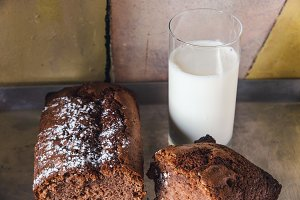 Chocolate cake and milk