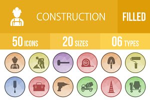 50 Construction Filled Low Poly Icon