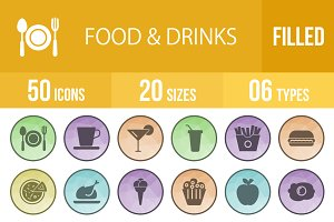 50 Food&Drinks Filled Low Poly Icons