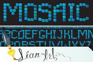 mosaic letters - blue color