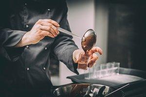 Chef preparing chocolate mousse