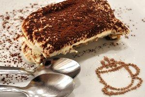 Appetizing tiramisu cake dessert