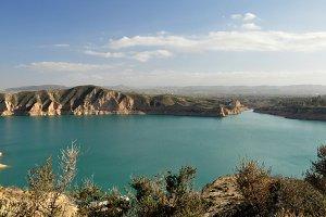 Emerald green lake waters