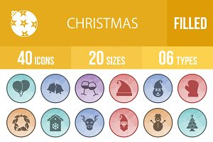 40 Christmas Filled Low Poly Icons