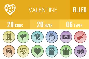20 Valentine Filled Low Poly Icons