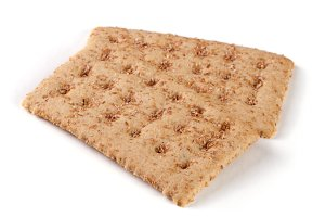 two grain crispbreads isolated on white background