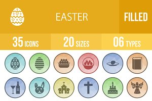 35 Easter Filled Low Poly B/G Icons