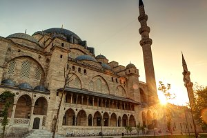 The Suleymaniye Mosque at sunset
