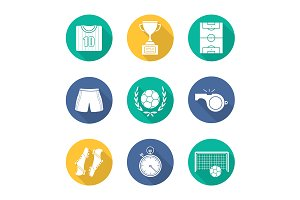 Soccer. 9 icons. Vector