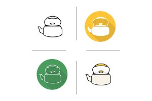 Kettle. 4 icons. Vector