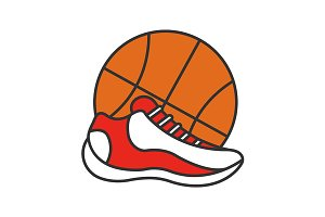 Basketball ball and shoe. Vector