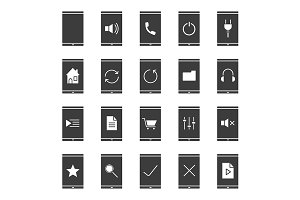 Smartphone apps. 20 icons. Vector