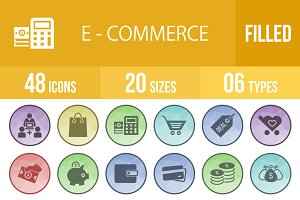 48 Ecommerce Filled Low Poly Icons