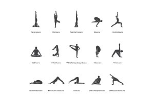 Yoga poses. 15 icons. Vector