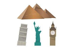 Pyramid, Pisa Tower, Statue of Liberty, Big Ben sightseeing set