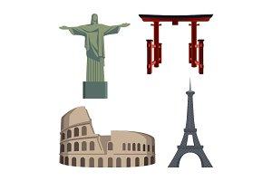 Christ Statue, Coliseum, Eiffel Tower, Portal or Tori gate