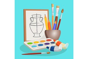 Unfinished picture of vase, little bowl with brushes, colourful pencils