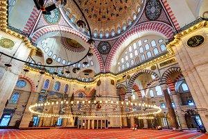 Inside the Suleymaniye Mosque