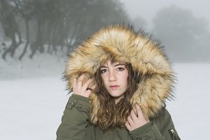 Sheltered teenager on a snowy day