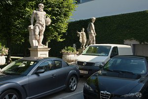 Sculptures and cars.