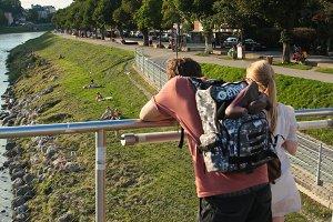 Tourists in Salzburg.