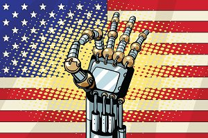 Robot OK gesture, the US flag