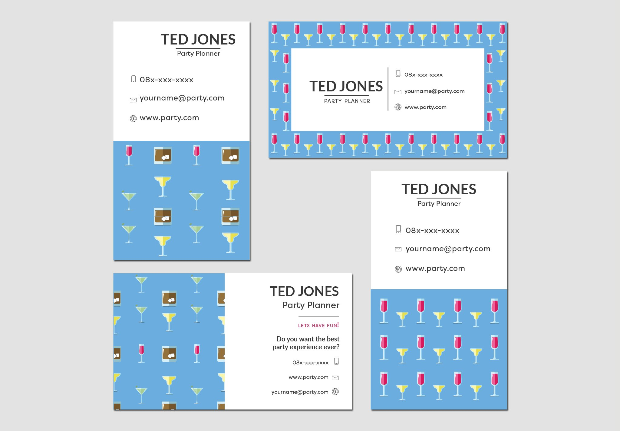Business cards party planner business card templates creative market colourmoves