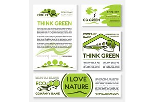 Eco green business banner template set design