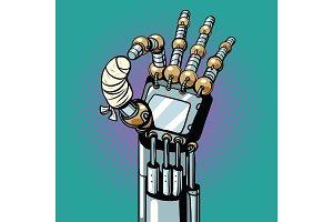 Robot OK okay gesture hand broken bandaged finger