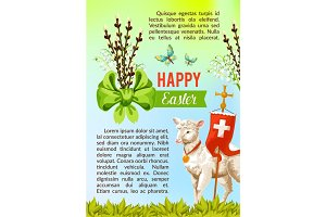 Easter greeting vector poster, paschal eggs willow