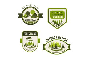 Nature, park, garden square and forest symbol set