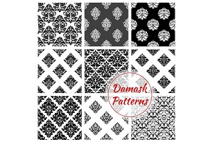 Damask seamless pattern set with floral arabesque