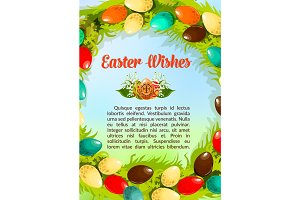 Easter wishes paschal eggs vector poster template