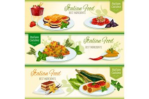 Italian cuisine dinner with dessert banner set