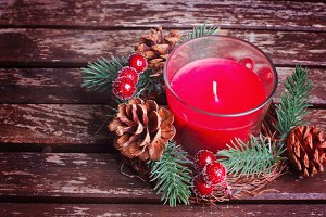 Candle with christmas wreath