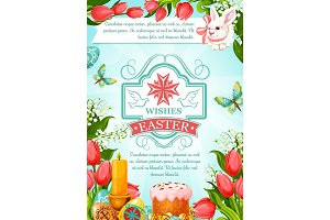 Easter vector paschal poster of cake paska kulich