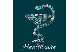 Snake and cup pharmacy symbol with medical icons