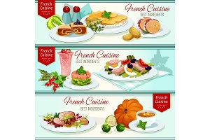 French cuisine restaurant dinner dishes banner set