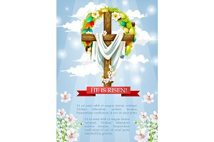Vector Easter crucifix cross and Christ shroud