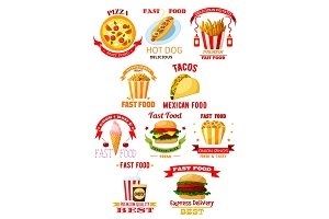 Fast food restaurant lunch meal symbol set