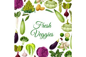 Fresh vegetables, mushroom and beans poster design