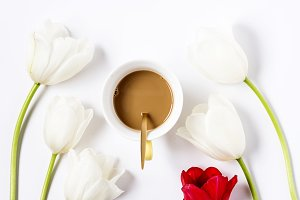 Flowers with coffee