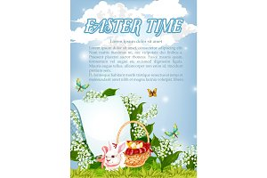 Easter paschal bunny and eggs basket vector poster