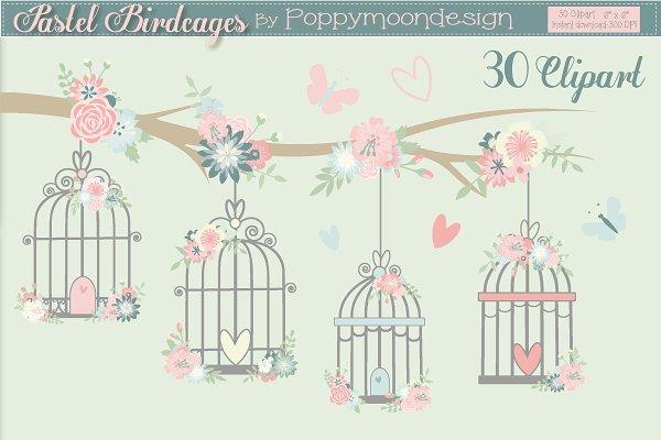 Pastel Birdcages clipart