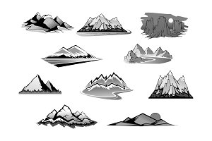 Mountain landscape isolated icon set