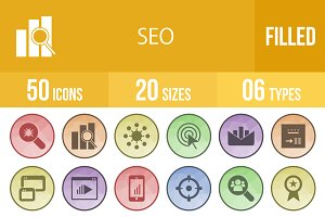 50 SEO Filled Low Poly B/G Icons