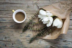 Floral background with coffee