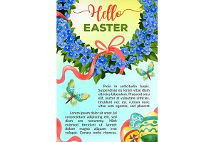 Eeaster holiday vector flower poster template