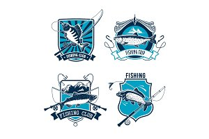 Fishing sport club emblem with fish and rod